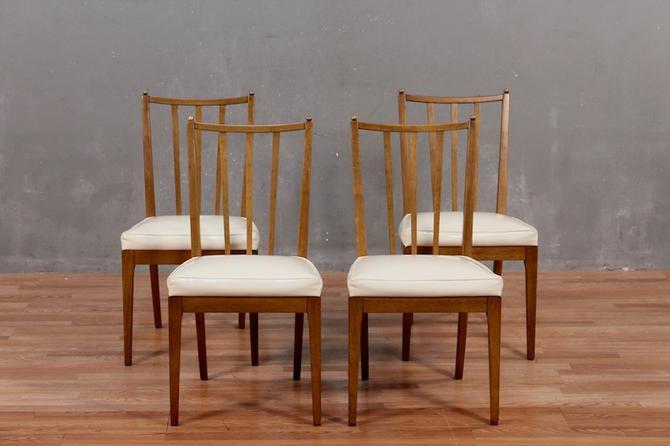 Set of 4 Baker Mid Century Glossy Vinyl Dining Chairs