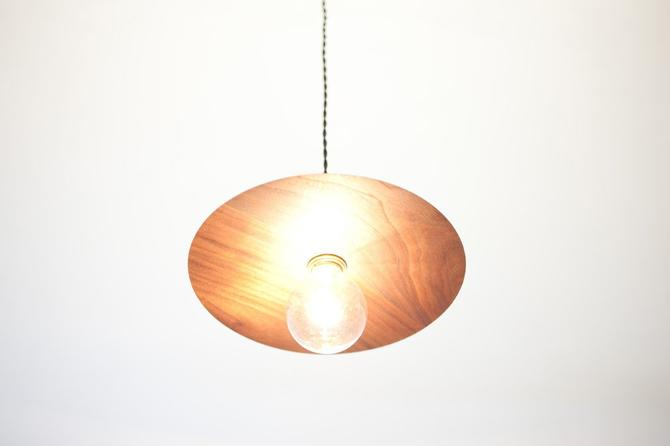 Modern Wood Pendant- Hand Turned Solid Walnut Shade w/ Solid Brass Socket by dylangrey