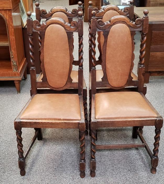 Item #DM13 Set of Four English Oak & Leather Dining Chairs c.1920s