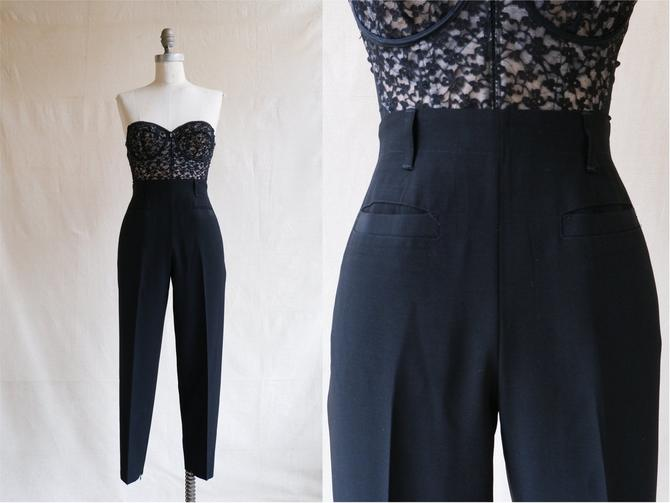 Vintage 90s Jean Paul Gaultier High Waisted Cigarette Pants/ 1990s Femme Black Trousers/ Size Small 27 by bottleofbread