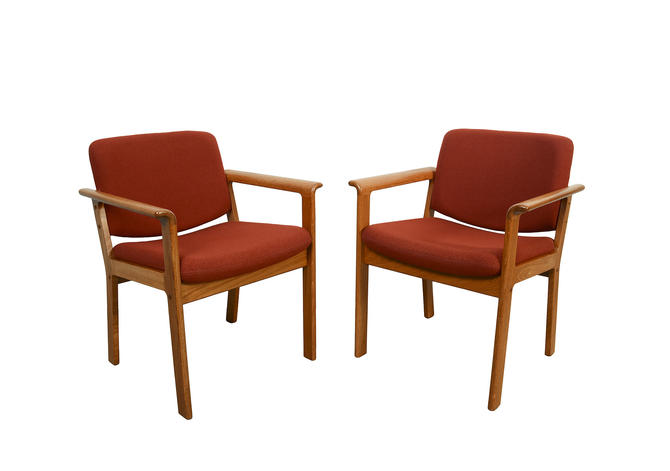 Erik Kirkegaard Teak Arm Chairs Hong Stolefabrik Danish Modern by HearthsideHome