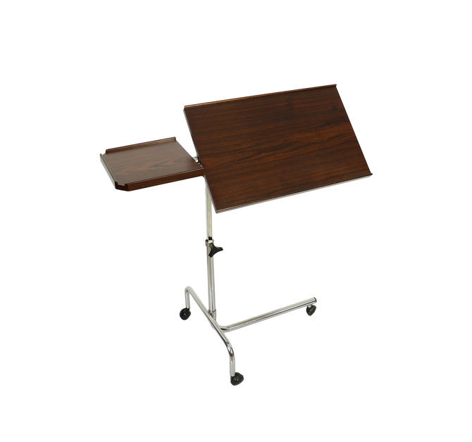 Danish Rosewood Adjustable Rolling Table Computer Table Tray Table Mid Century Modern by HearthsideHome