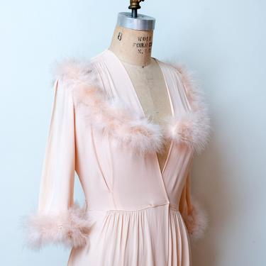 1940s Feather Trim Dressing Gown by FemaleHysteria