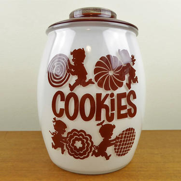 Vintage Bartlett-Collins - 3 Qt Utility Cookie Jar with Lid - Boys Girls Rolling Cookies - GORGE by TheFeatheredCurator