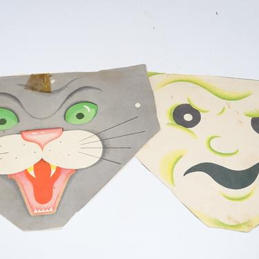 Two Vintage Halloween Party Masks, Cat and Ghost Lithographs on Heavy Paper by exploremag