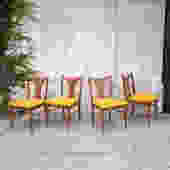 Newly Upholstered in Vintage Mustard American Red Oak Dining Chairs