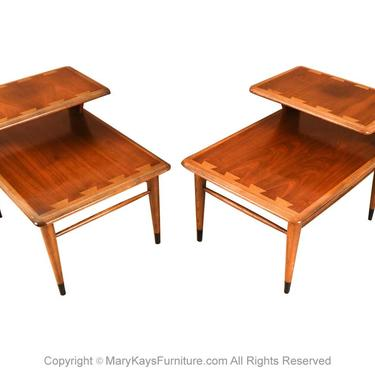 Mid Century Lane Acclaim Dovetail Two Tier End Tables Pair by Marykaysfurniture