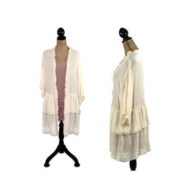 3/4 Sleeve Lightweight Cardigan, Duster Jacket Kimono, Cover Up Robe, Open Semi Sheer, Ruffled Romantic Boho Clothing, Hippie Clothes Women by MagpieandOtis