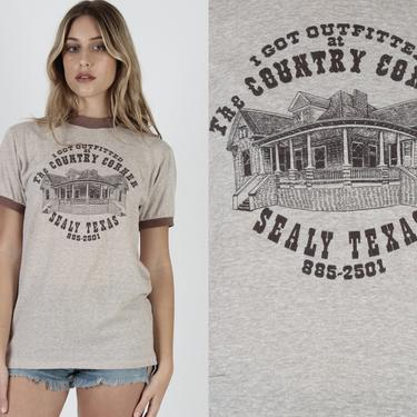 80s Heather Brown Country Store T Shirt Vintage 1980s Ringer Trading Post Outfitters Sealy Texas Western Wear Mens Womens Unisex Tee Large L by americanarchive