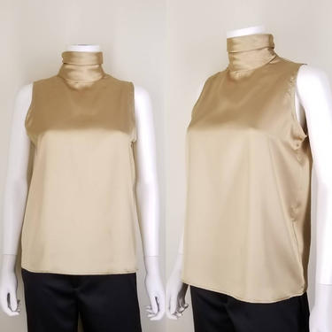 1990s Liquid Gold High Neck Sleeveless Blouse, Medium ~ Vintage Deadstock Silky Cocktail Blouse ~ Button Back Flared Free Bust Top by SoughtClothier