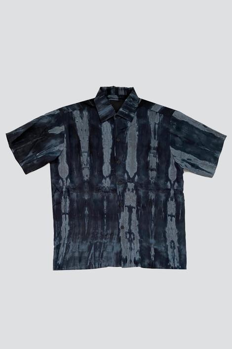 Blue Watercolor Camp Shirt