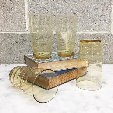 Vintage Drinking Glasses Retro 1970s Mid Century Modern + Honey Amber + Clear Glass + Set of 4 Matching + Tumblers + Kitchen and Home Decor by RetrospectVintage215