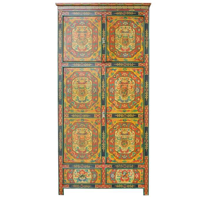 Chinese Tibetan Jewel Flower Graphic Tall Storage Cabinet cs4892S