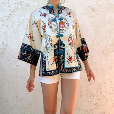 Vintage 50's 60's Esme Chinese Embroidered Hanfu Robe Jacket Top Blouse by CottontailTrdPost