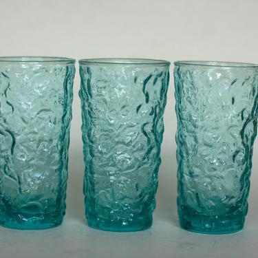 vintage anchor hocking milano lido water glasses in aqua/set of three by suesuegonzalas