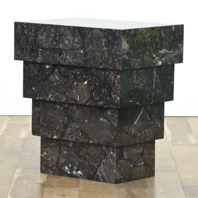 Black Marble Art Deco Step Design Console Table