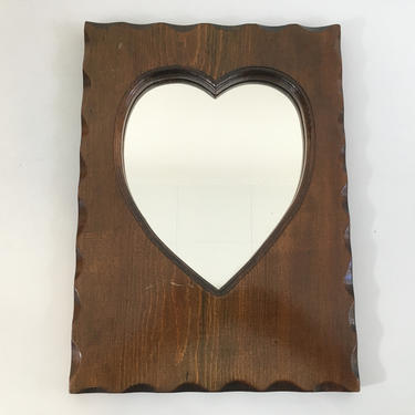 Vintage Heart Wooden Mirror Wood Long Handmade Mantique Rustic Boho Hippie Americana Framed Wall Hanging Made in the USA 1983 1980s 80s by CheckEngineVintage