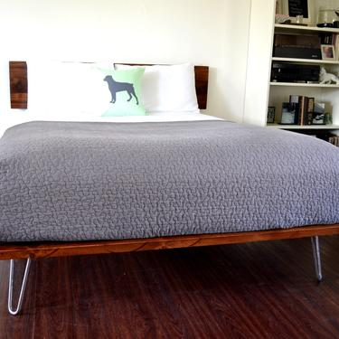 Platform Bed and Headboard on Hairpin Legs   Queen Size Bed   Wood Bed   Mid Century Inspired   Minimal Design   FREE SHIPPING by CasanovaHome