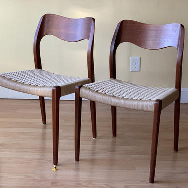 Two Moller Model #71 Dining Side Chairs, in Teak and new Danish Paper Cord, side chairs, desk chairs, bedroom chairs, one pair available by ASISisNOTgoodENOUGH