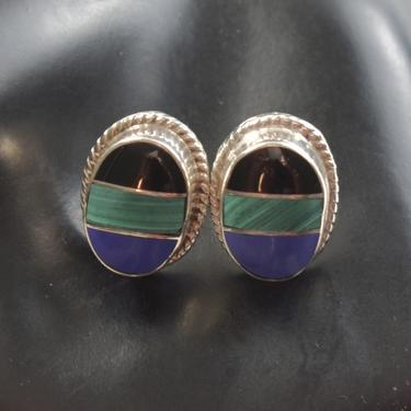 80's Taxco sterling onyx malachite sodalite Southwestern studs, striking Mexico TS-127 925 silver stone inlay post earrings by BetseysBeauties