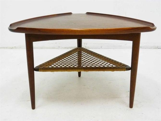 Danish Selig Poul Jensen Triagular MCM Table Cane Shelf