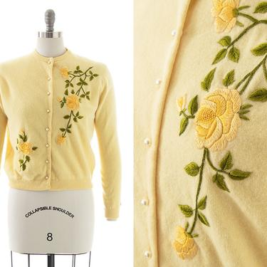Vintage 1950s Cardigan   50s Rose Floral Embroidered Yellow Knit Wool Angora Button Down Sweater Top (medium/large) by BirthdayLifeVintage
