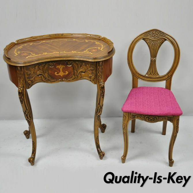 Small French Louis XV Inlaid Kidney Bean Petite Desk Vanity Gossip Table w Chair