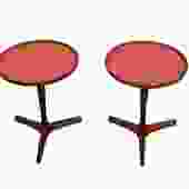 Pair Hans C Andersen End Tables Danish  Midcentury Modern Teak Red Laminate Tops