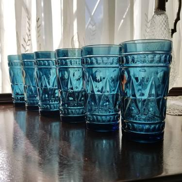 Vintage Blue Highball Glass Set of 6 / Blue Colony Park Lane Tumblers / Mid Century Cocktail Glass Barware Set / Indiana Glass Juice Glasses by SoughtClothier