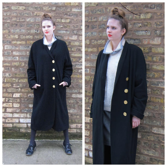 1980s Coat / Karl Lagerfeld Coat / 80s Black Wool Long Coat/ Designer Coat  with Gold Buttons / Oversized Large Plus Size Vintage by BasyaBerkman