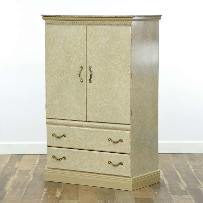 Good Companies Neoclassical Marble-Look Tv Cabinet