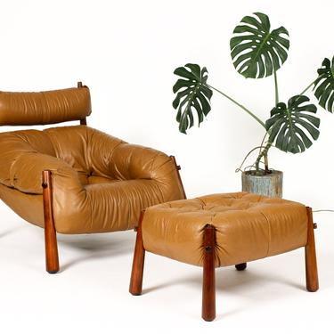 Mid Century Brazilian Modernist Lounge Chair + Ottoman — Percival Lafer — Model MP-81 — Leather + Rosewood — Rare Model by atomicthreshold