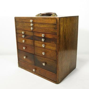 Antique DENTAL CABINET TRAVEL CASE Wood Tool Box 14 DRAWER APOTHECARY Doctor Bag