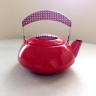 Red enamel kettle Gingham handle Enamelware tea pot Farm decor kitchen Cottage core by BelleCosine