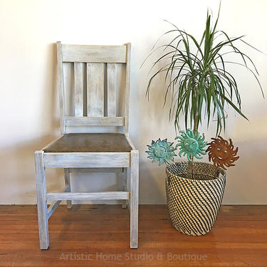 Rustic Wood Chair with Faux Leather Seat