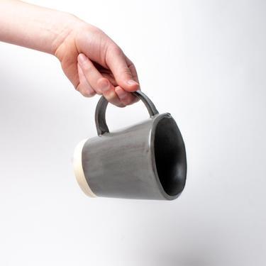 Charcoal Shino Flare Mug, Ceramic Mug, Stoneware Mug, Grey Mug by TagliaferroCeramics
