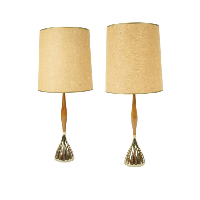 Pair of Slim Teak with Brass Table Lamps