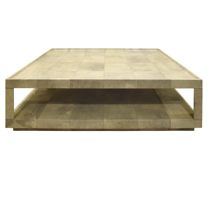 """Karl Springer """"Triangular Leg Coffee Table"""" In Lacquered Goatskin with Bone Inlays 1980s"""