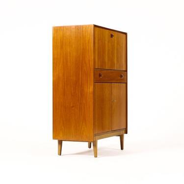 Danish Modern / Mid Century Compact Teak Upright Secretary Desk — Drop Front — Lower Cabinet by atomicthreshold