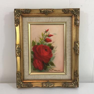 Vintage Framed Floral Original Painting Art Red Roses Flowers Rose Gold Wood Frame Painted Helen Stephenson Amateur Painter Hobbyist Hobby by CheckEngineVintage