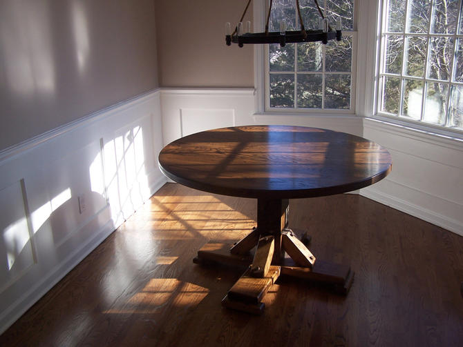 The Massanutten - Antique Oak Round Pedestal Dining Table by BarnWoodFurniture