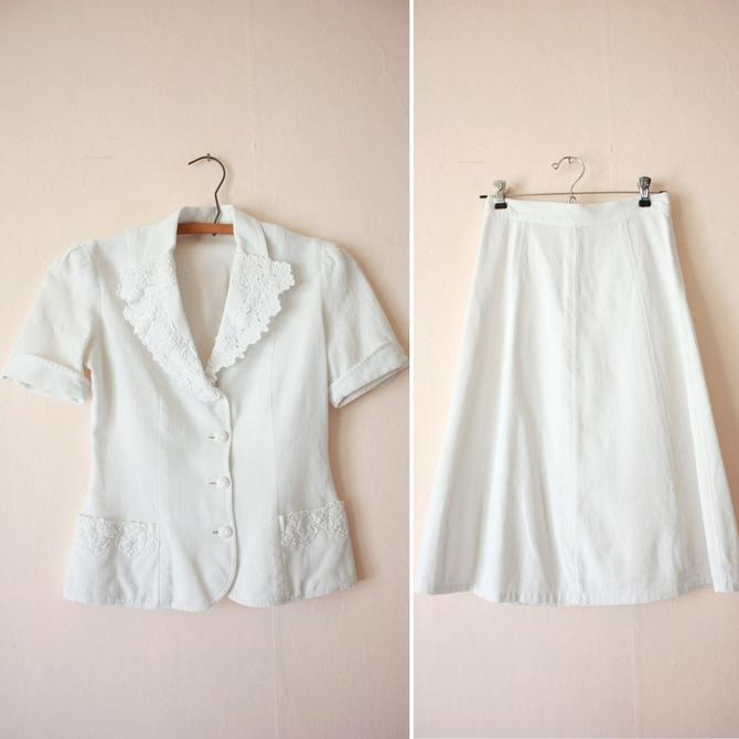 30s White Cotton Pique Blouse and Skirt Set Size XS / S by NoSurrenderVintage