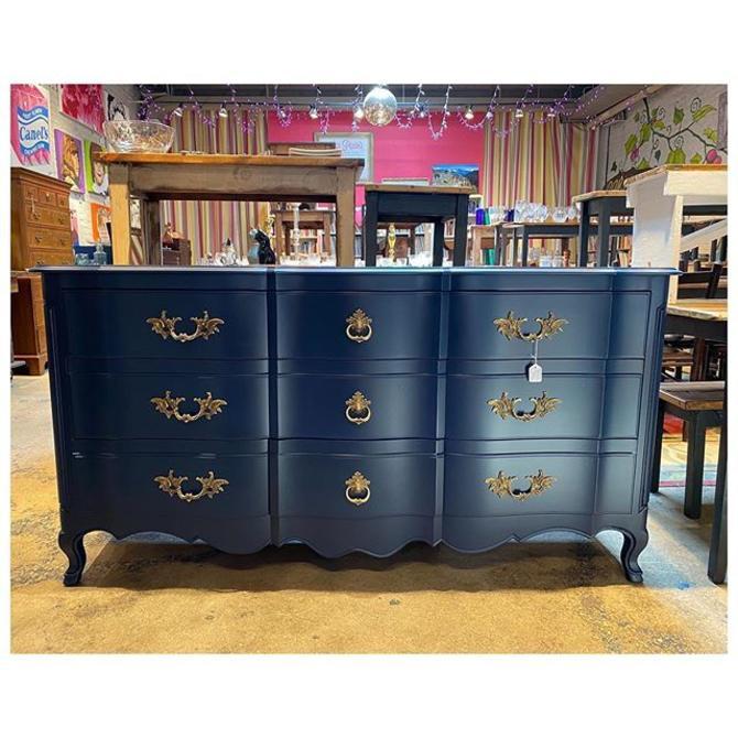 "Beautiful painted (Navy Blue) John Widdicomb dresser with brass hardware / 9 drawers 66"" long / 21.5"" deep / 34.5"" height"
