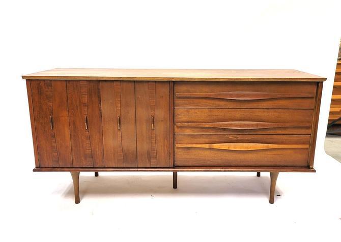 Mid-Century Modern Walnut Low Dresser with Sculptural Pulls