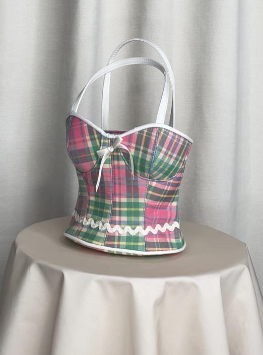 Vintage Y2K Plaid Bodice Bag