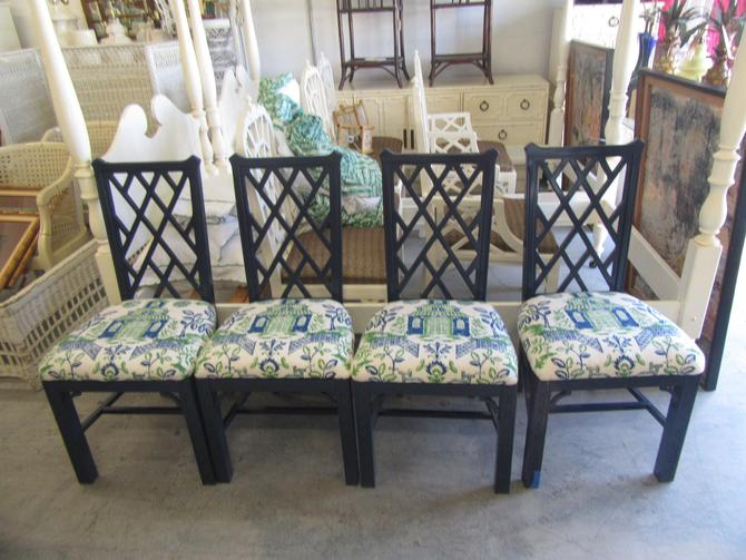 Navy Lacquered Chippendale Chairs