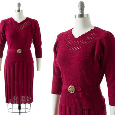Vintage 1950s Knit Set | 50s Burgundy Bouclé Wool 3-Piece Knit Sweater Skirt & Belt Outfit (small/medium) by BirthdayLifeVintage
