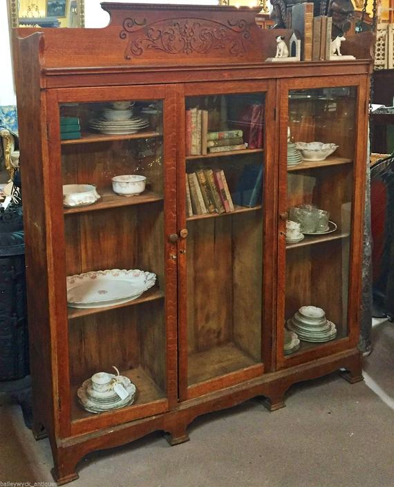 Antique Oak Library Cabinet | Bookshelf | Bookcase | China Cabinet w/Glass  Doors - Antique Oak Library Cabinet Bookshelf Bookcase China Cabinet