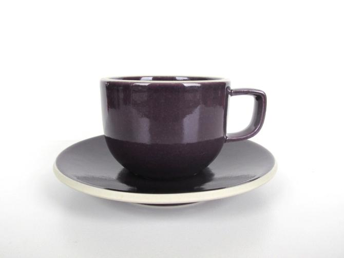 Set of 2 Sasaki Colorstone Cup and Saucers In Purple Plum, Massimo Vignelli Post Modern Cup And Saucer, Minimalist Coffee Cup, Sasaki Mugs by HerVintageCrush