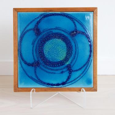 Scandinavian Modern Vintage Blue Flower Ceramic Tile Trivet with Wooden Frame by MidCentury55